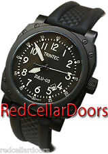 Trintec Zulu 3 9067 Navigator Cockpit Style Black Watch Wristwatch Rubber Band