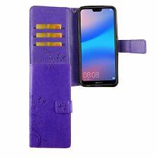 Huawei P20 Lite Handy-Hülle Schutz-Tasche Cover Flip-Case Kartenfach Violett