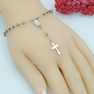 Stainless Steel Rosary Bracelet Virgen de Guadalupe and Cross. Rosario Acero