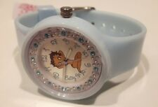 HORLOGE FEMME BETTY BOOP,BB105,FAUX DIAMANT,MONTRE BOOP,SANGLE CAOUTCHOUC,BLEU