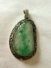 ANTIQUE JADE & SILVER FILIGREE PENDANT
