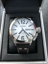 TW STEEL CE1006 MENS CANTEEN 50MM STAINLESS STEEL WHITE DIAL BROWN LEATHER STRAP
