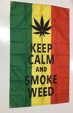 Keep Clam And Smoke Weed Banner Flag - Reggae Marijuana Joint Chive On Man Cave