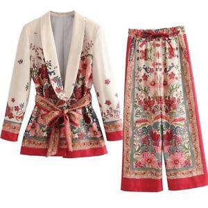 Occident Women's Blazer Suit Sets Floral Lapel Jacket Elastic Wide-leg Pants Out