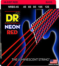 DR NRB5-45 5 string Hi-Def Neon Red Coated Bass Guitar Strings 45-125 MED