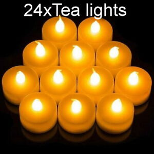 24x warm white Tea Light Flameless LED Candle Flickering Battery Christmas Weddi