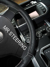 FITS JEEP PATRIOT 11+ TRUE LEATHER STEERING WHEEL COVER LIGHT GREY DOUBLE STITCH