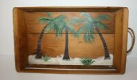 "Hand Painted Wood Palm Tree Serving Tray Rope Handles 18"" x 10.5"" x 2"""