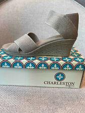 Black Linen Elasticized Crisscross Wedge Espadrille San Charleston Shoe Cannon
