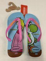 Havaianas Super Mario Flip Flops Men's 9/10 Women's 11/12 Peach Yoshi Shoes NWT