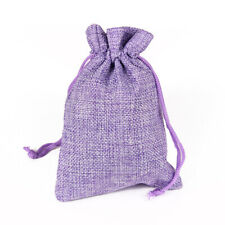 50ps 10x14cm Jute Burlap Gift Bag Jewelry Pouch Drawtring Candy Bag Light Purple