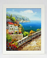 Italy Ocean Bay View 20 x 24 Art Oil Painting on Canvas w/White Wood Frame