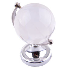 Crystal Glass Frosted World Globe Paperweight & Stand Home Desk Decor Free Ship