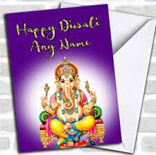 Lord Ganesh Purple Customized Diwali Greetings Card