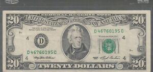 1993 (D) $20 Twenty Dollar Bill Federal Reserve Note Cleveland Vintage Currency