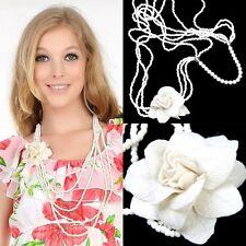 larga cadena de perlas fieltro COLLAR CON PERLAS Perla Flor Broche Blanco XXL