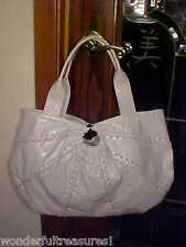 HG White Leather Satchel Hobo Purse Bag LACE UP ACCENT ROBERTA GANDOLFI - ITALYI