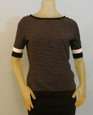 Clover by Bobby Jones WOMEN'S TOP Short Sleeve Black Stripe Cotton Blend S NWT