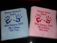 PERSONALISED BABY FLEECE BLANKET HAND OR FOOTPRINTS, PERFECT GIFT!!! L@@K!!!!