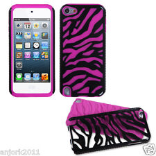 Apple iPod Touch 5 Zebra Fusion Hybrid Case Skin Cover Accessory Black/Hot Pink