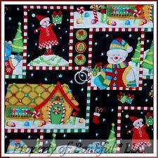 BonEful Fabric FQ Cotton Quilt Xmas Snowman L Block Gingerbread House Candy Cane