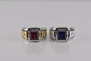 2 - Sterling Silver Red Ruby Blue Sapphire Cubic Zirconia Band Ring 925 Sz: 10.5