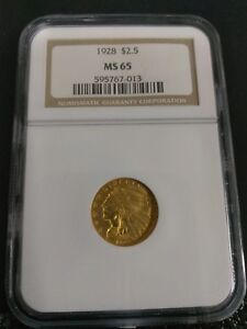 1928 US Gold $2.50 Indian Head Quarter Eagle NGC MS65
