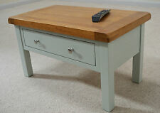 Camborne Painted Oak Coffee Table with 2 Drawers in Sea Green / Sage