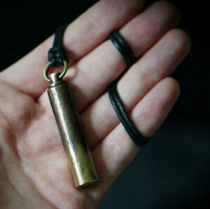ENGRAVED DISTRESSED BRASS BULLET URN VIAL SCREW CAPSULE ASHES PENDANT NECKLACE