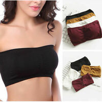 Women's Strapless Padded Bra Bandeau Tube Top Full Cup Removable Pads Seamless