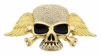 Mens Womens Skull Belt Buckle Skeleton Gold Rhinestone Metal Goth Tribal Tattoo
