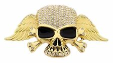 Mens Womens Skull Belt Buckle Skeleton Gold Rhinestone Metal Goth Tribal Tattoo