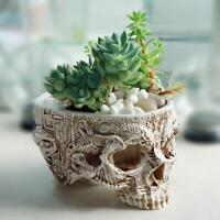 Skull Flower Planter Human Head Home Decor Plant Container Pot Replica Flowerpot