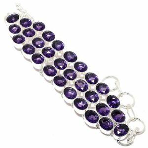 Amethyst Gemstone Handmade 925 Silver Jewelry Bracelet 7-8 RQ-982 9257