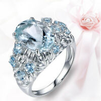Silver Knnstore Women Jewelry Blue Topaz Wedding Engagement Ring 6-10