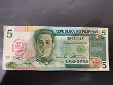 P5.00 Philippine Peso Note (Pesos P5 5 Bill Limang Piso 40th Anniversary)