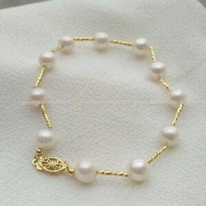 "Beautiful Design 8-9mm South Sea Genuine White Pearl Bracelet 7.5-8"" 14k Gold P"