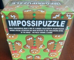 IMPOSSIPUZZLE XMAS GINGERBREAD MAN UNIQUE JIGSAW PUZZLE NEW SEALED 100 PIECE