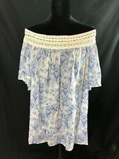 NWT Westbound Women 2X Off-Shoulder Blouse Top Blue White Short Sleeve Lace $49