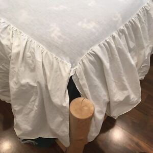 Ivory BED SKIRT DUST RUFFLE Full Size 1 PIECE Split Corner COTTON Double 17 DROP