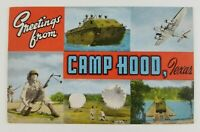 Postcard Greetings From Camp Hood Texas Military Army Soldier Tank Plane