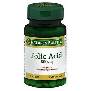 Natures Bounty Acide Folique 250 Tablettes 800 Mcg