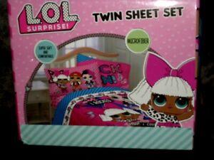 NEW L.O.L Rock On Kids Soft Microfiber Twin Sheet 3 Piece Set Pink & Blue MB982H