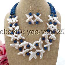 K093009 18'' 2StrandsWhite Cross Pearl Blue Agate Necklace Earrings Set