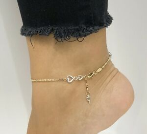 14k Two-Tone Gold Fancy Hearts Anklet Adjustable 9 or 10 Inches