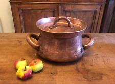 Gorgeous Antique Copper 1800s Dovetail Hand Forged French Daubière Cauldron Pot