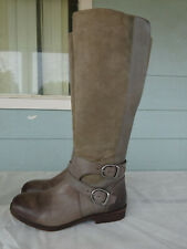 Women's Lucky Brand Gray Distressed Leather Tall Riding Campus Boots Size 7.5