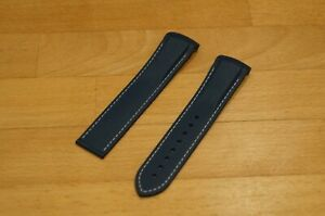 22MM RUBBER STRAP BLUE WITH WHITE STITCH + DEPLOY CLASP for OMEGA PLANET OCEAN