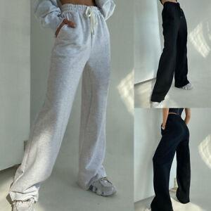 Lounge Wear Womens Ladies Pocket Sweatpants Wide Leg Casual Pants Loose Trousers