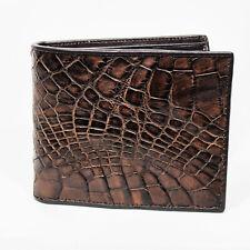 New Brown Alligator Crocodile Genuine Leather Skin Men Bifold Credit Card Wallet